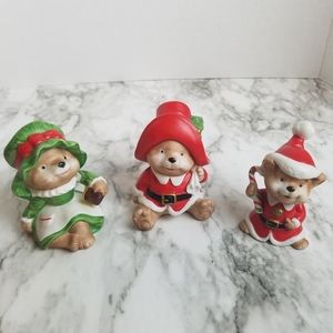 Vintage Homco Christmas Bear Figurines Set Of 3